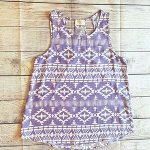 Everly Lavender Tribal Aztec Cut Out Tank Top